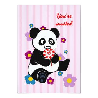 """Panda con la copia de la carpeta del lollipop invitación 5"""" x 7"""""""
