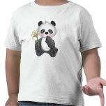 Panda con la flor amarilla camisetas