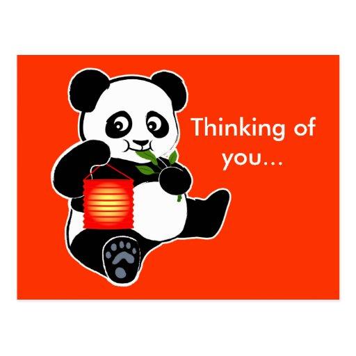Panda con la linterna postal