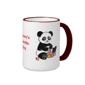 Panda con los bloques del juguete taza de dos colores
