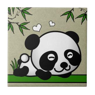 Panda confiada azulejo cuadrado pequeño
