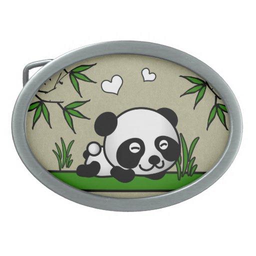 Panda confiada hebilla cinturón oval