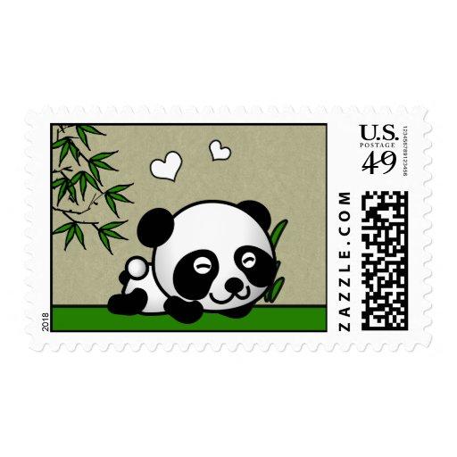 Panda confiada timbres postales