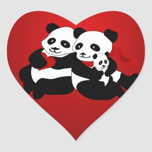 Panda Couple With Baby Christmas Heart Sticker Zazzle
