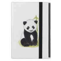 Panda cub and bamboo tree watercolor paintings iPad mini case