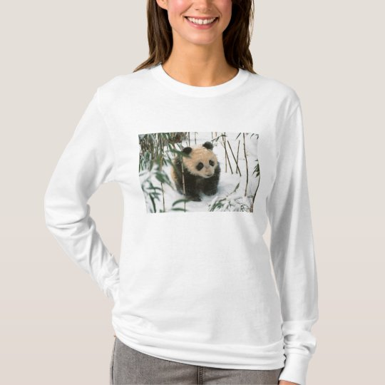 Panda cub on snow, Wolong, Sichuan, China 2 T-Shirt