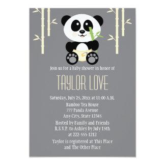 """Panda de bambú amarilla en fiesta de bienvenida al invitación 5"""" x 7"""""""