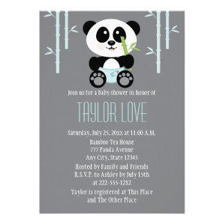 Panda de bambú azul en fiesta de bienvenida al beb