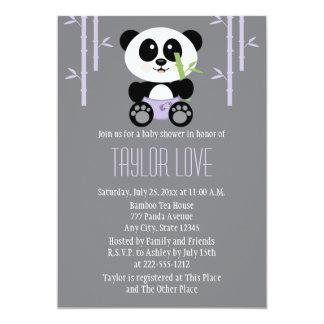 """Panda de bambú púrpura en fiesta de bienvenida al invitación 5"""" x 7"""""""