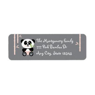 Panda de bambú rosada del bebé en etiquetas de etiqueta de remitente
