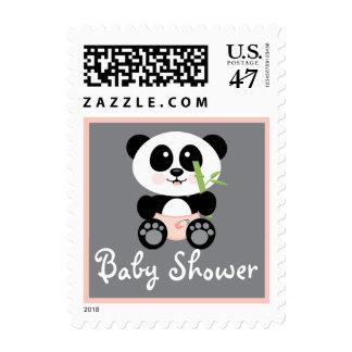 Panda de bambú rosada en fiesta de bienvenida al estampillas
