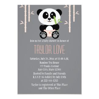 Panda de bambú rosada en fiesta de bienvenida al invitación 12,7 x 17,8 cm