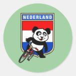 Panda de ciclo holandesa pegatinas redondas