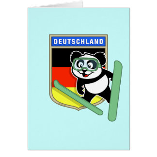 Panda de Esquí-salto alemana Tarjeta Pequeña
