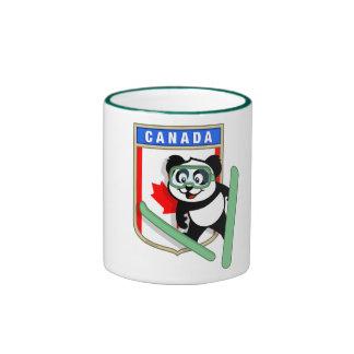 Panda de Esquí-salto de Canadá Taza De Dos Colores
