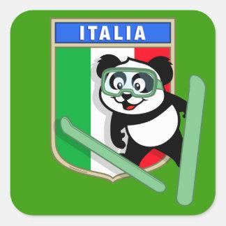 Panda de Esquí-salto de Italia Pegatina Cuadradas