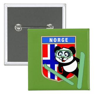 Panda de Esquí-salto de Noruega Pin Cuadrado