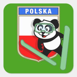 Panda de Esquí-salto de Polonia Calcomanías Cuadradases
