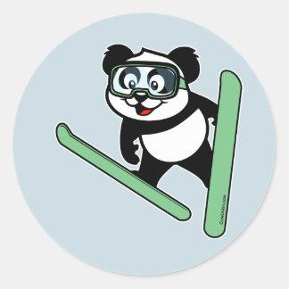 panda de Esquí-salto Pegatina Redonda