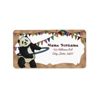 Panda de Hoola Hooping etiquetas Etiqueta De Dirección