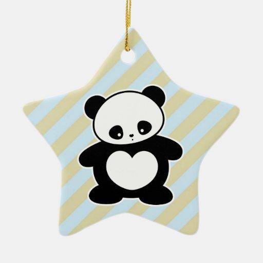 Panda de Kawaii Adorno Navideño De Cerámica En Forma De Estrella