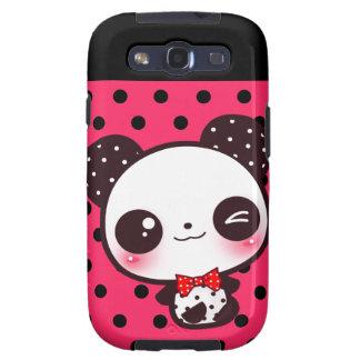 Panda de Kawaii en lunares rosados negros Samsung Galaxy S3 Coberturas