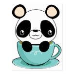 Panda de Kawaii en una taza de té Postales