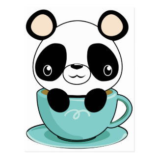 Panda de Kawaii en una taza de té Postal