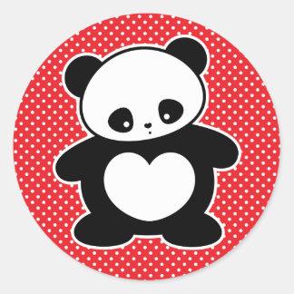 Panda de Kawaii Etiqueta Redonda