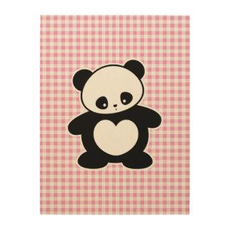 Panda de Kawaii Impresión En Madera
