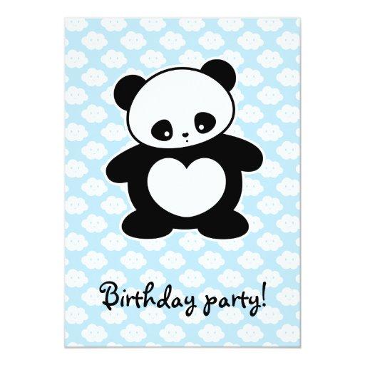 """Panda de Kawaii Invitación 5"""" X 7"""""""