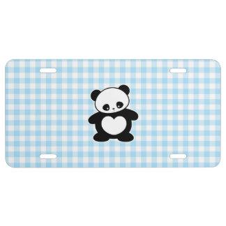 Panda de Kawaii Placa De Matrícula