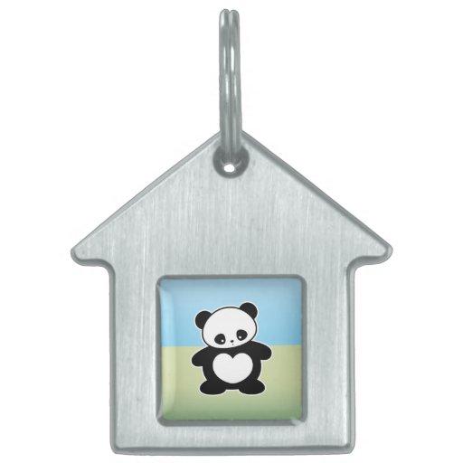 Panda de Kawaii Placas De Mascota