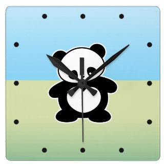 Panda de Kawaii Reloj Cuadrado