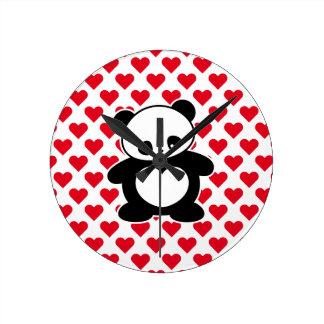 Panda de Kawaii Reloj Redondo Mediano