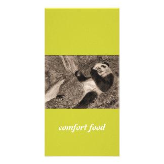 panda de la comida de la comodidad tarjetas fotograficas personalizadas
