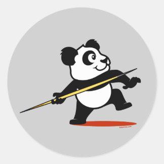 Panda de la jabalina pegatina redonda