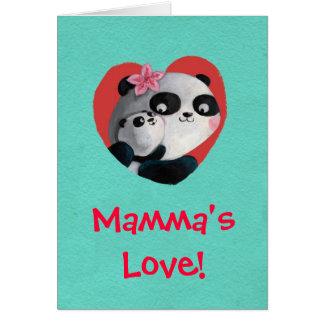 Panda de la madre con el bebé felicitacion