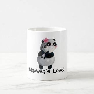 Panda de la madre con el bebé tazas de café