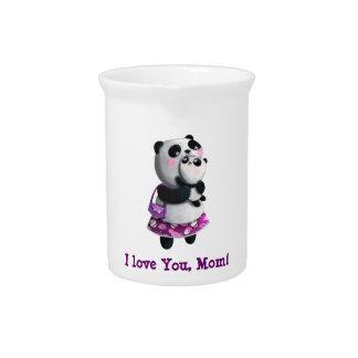 Panda de la mama con su niño jarron