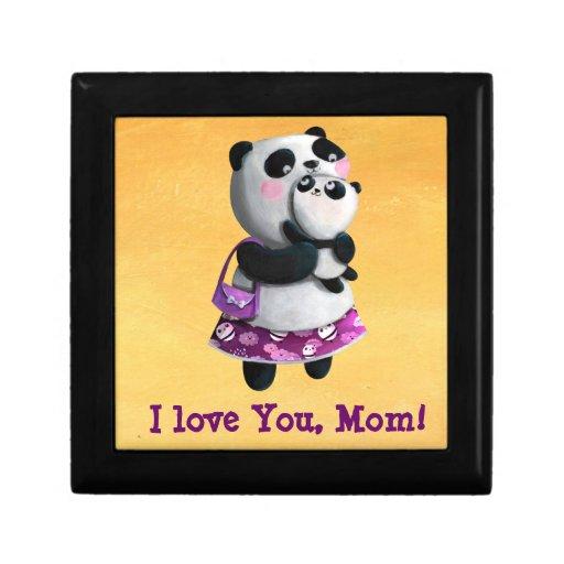 Panda de la mama con su niño joyero cuadrado pequeño