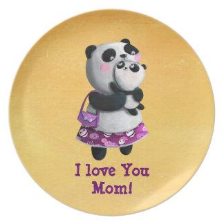 Panda de la mama con su niño plato para fiesta
