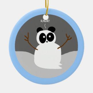 Panda de la nieve adorno navideño redondo de cerámica