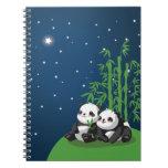 Panda de la noche de la estrella libreta