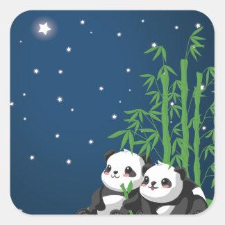 Panda de la noche de la estrella colcomanias cuadradases