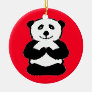 Panda de la yogui - ornamentos únicos del navidad adorno navideño redondo de cerámica