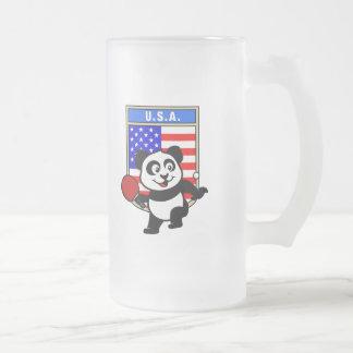 Panda de los tenis de mesa de los E.E.U.U. Jarra De Cerveza Esmerilada