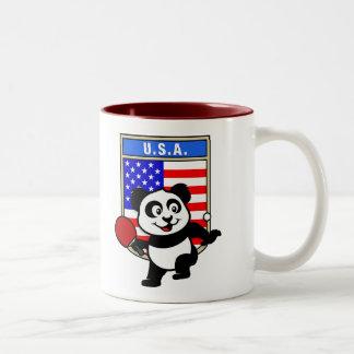Panda de los tenis de mesa de los E.E.U.U. Taza De Café De Dos Colores