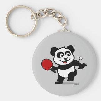 Panda de los tenis de mesa llavero redondo tipo pin