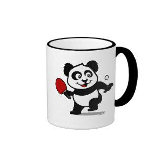 Panda de los tenis de mesa taza de dos colores